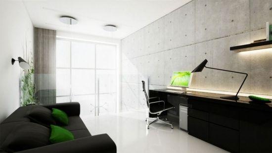un bureau à domicile bien aménagé avec des accents verts