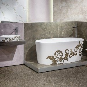 Custom painted black and white fiilgree bath and basi by Luxe by Design, Brisbane. We can custom finish any Victoria and Albert bath or basin in any colour. Speak to us on 07 3265 7133 to learn more and find a local retailer.