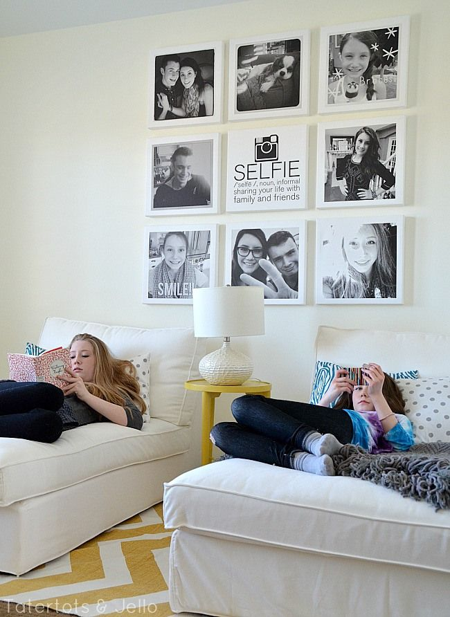 Selfie Tween/Teen Instagram Hangout Wall DIY-- Tatertots and Jello #DIY #teens #Instagram