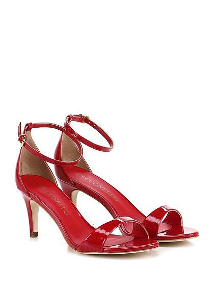 Cecconello - Sandalo alto - Donna - Sandalo alto in vernice con cinturino alla caviglia. Tacco 70. - RED - € 145.00