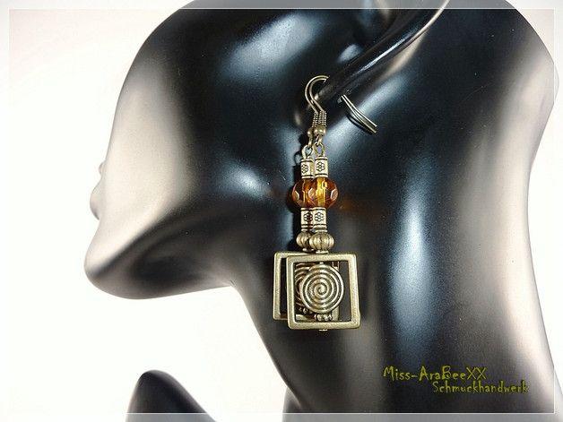 Afrikanischer Schmuck - Ethno-Ohrhänger Spirale African Style Bronze topaz - ein Designerstück von Miss-AraBeeXX bei DaWanda