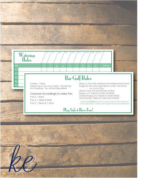 Bar Golf Printable Score Cards