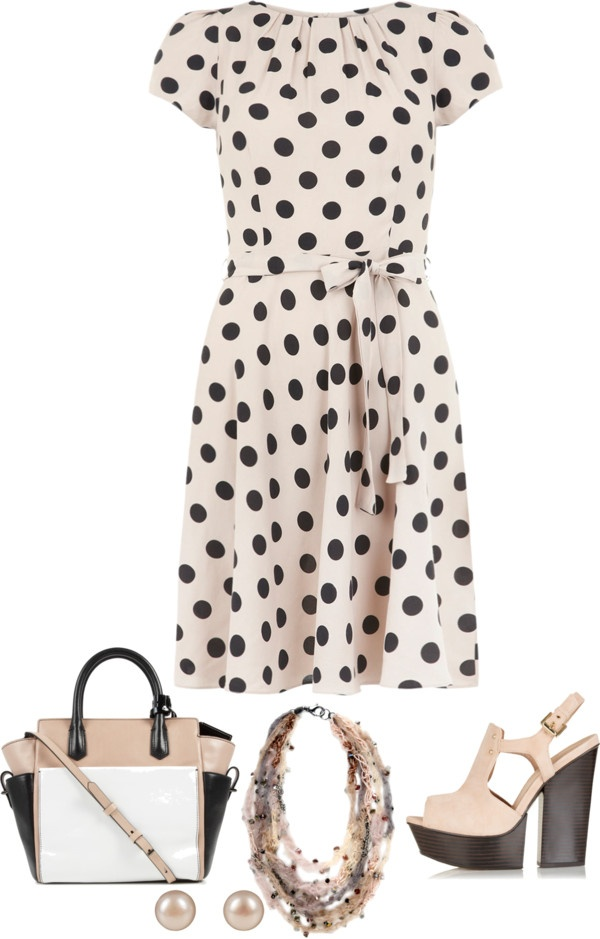 """Nude & Black Spots Dress"" by musicfriend1 on Polyvore"
