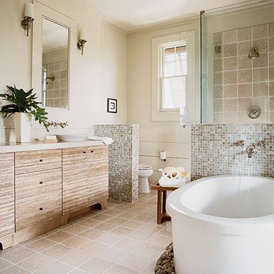 Neutral Master Bathroom with Natural Materials