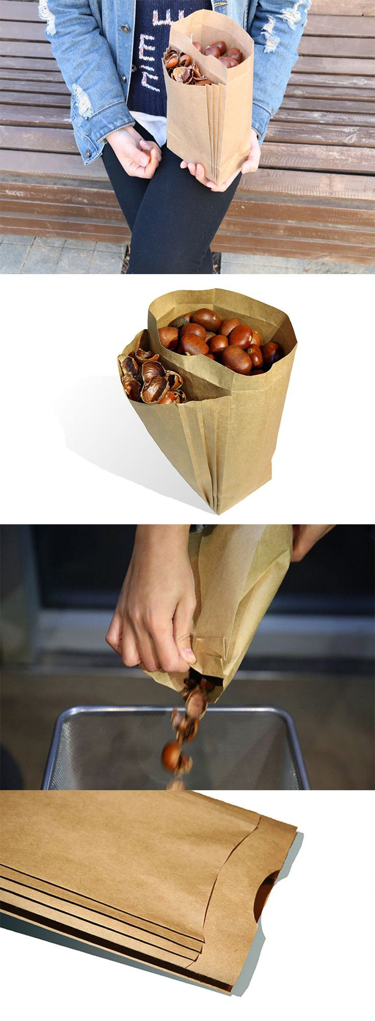 The cleverly designed 'Double Food Bag' addresses the problem of where to dispose of your leftover chestnut shells, rather than seek out a garbage bin or toss them  in the same bag, there's an additional pouch built in just for the waste... READ MORE at Yanko Design !