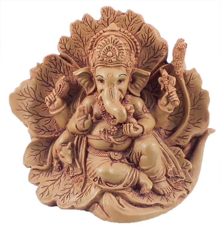 Ganesha+Sitting+on+Leaf+(Stone+Dust)