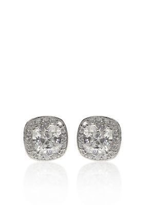 Belk  Co. WhitePlatinum Plated Sterling Silver Platinum Plated Sterling Silver Cubic Zirconia Earrings