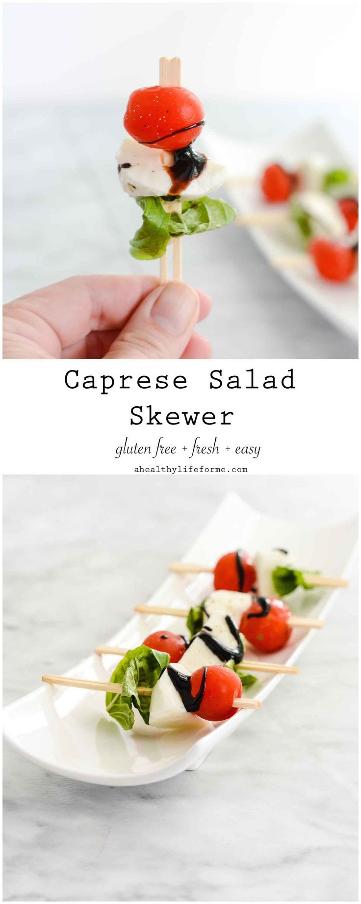 Caprese Salad Skewers are the perfect fresh, delicious, and easy appetizer to serve at a dinner party or to the family on a warm summer evening. - A Healthy Life For Me