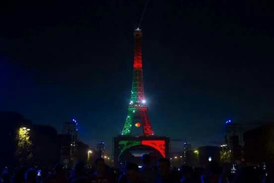 The Eiffel Tower in Paris decored the colours of the Portugese flag after their victory! #EurosHosts #France