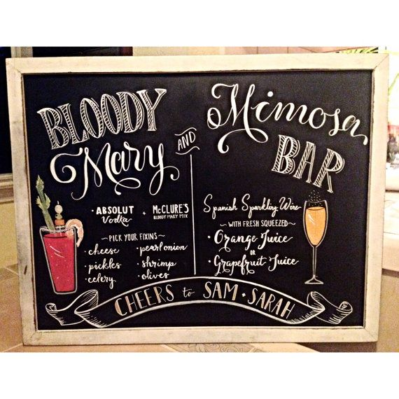 Bloody Mary and Mimosa Bar Sign by LeftyLadyChalkShop on Etsy