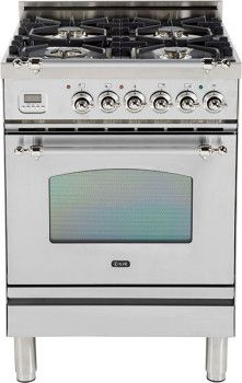 Ilve UPN60DVGGIX 24 Inch Freestanding Gas Range with 4 Semi-Sealed Burners, European Convection, Heat-Insulated Door, Multi-Gas Burners, Flame Failure Safety Device, Warming Drawer and Chrome Trim: Stainless Steel