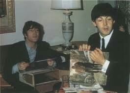 "John and Paul (The Beatles) love the record: ""The Freewheelin' - Bob Dylan"" by Bob Dylan - The Beatles loving Bob !!."