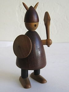 Jacob Jensen Mid Century Danish Modern Teak Wood Viking Figure Toy Bojesen Era