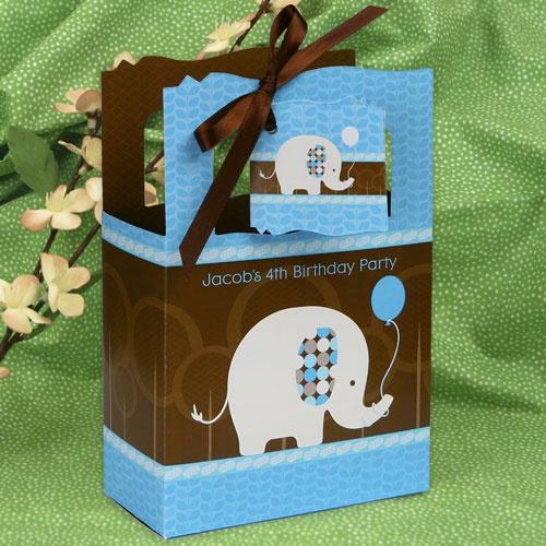 Boy Elephant - Classic Personalized Birthday Party Favor Boxes - Boy Elephant