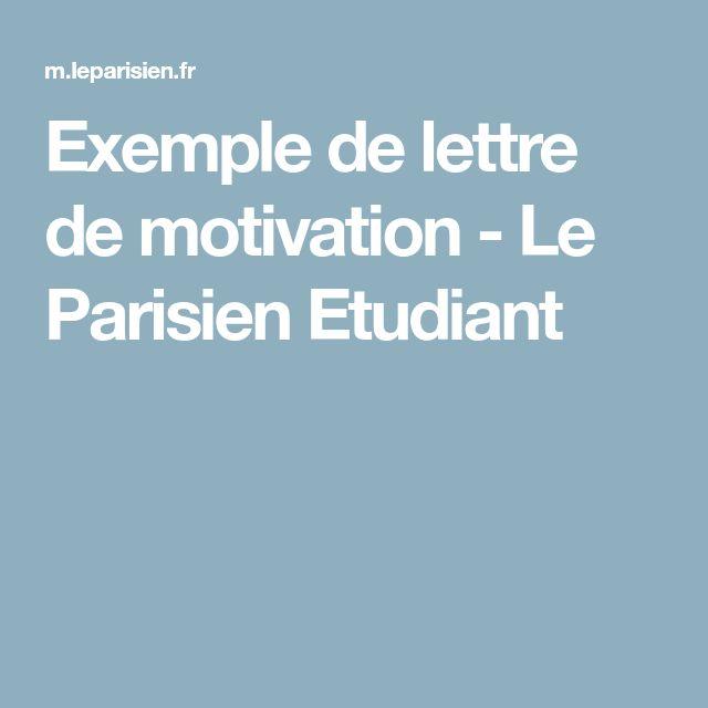 Exemple de lettre de motivation - Le Parisien Etudiant