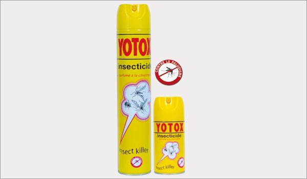 YOTOX® Jaune  Yotox jaune parfumé au citron et à la citronnelle. Efficace par contact sur insectes volants : mouches, moustiques, guêpes, mites... Principes actifs homologués par l'OMS. Format 1 litre et 400ml.