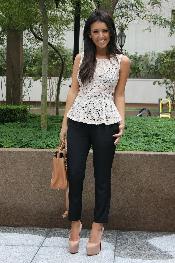 peplum lace cute for work. minus the hideous shoes