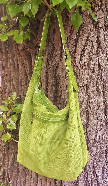 """Большая. Летняя. Зеленая. Сумка """"Итальянка"""" - салатовый,сумка на плечо"""