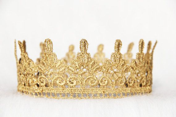 Large Toddler Child Gold Lace Crown - Kings Crown for Boy First Second Birthday / Photo Prop / Party / Gift / Decor / Cake Smash / Topper