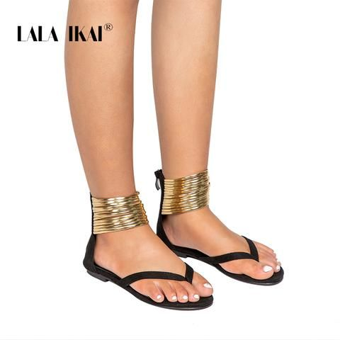 90289b4c430a LALA IKAI Summer Flat Sandals Gladiator Flip Flops Narrow Band Women  Sandals 2018 New Summer Women Shoes 014A2039 -4 From Touchy Style Outfit  Accessories.