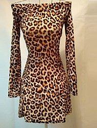 Mini vestido de leopardo bateau sexy de las mujer... – USD $ 9.99