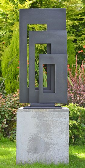 """Three Rectangles"" Garden Sculpture by Paul Margetts. garden sculpture, art for outside, school sculpture"