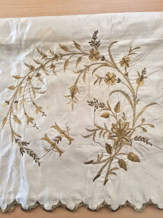 Rare and charming Antique Ottoman Turkish real gold thread hand embroidery on silk