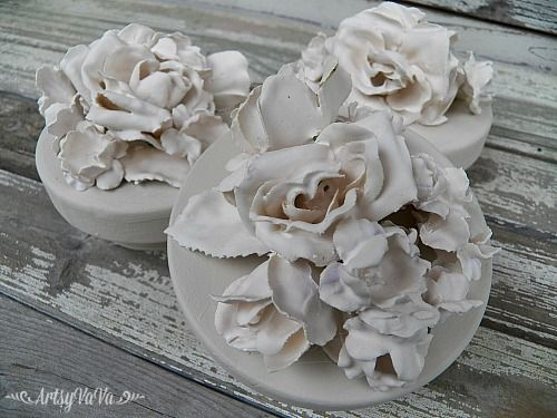 DIY Faux Porcelain Flowers From Plaster Of Paris