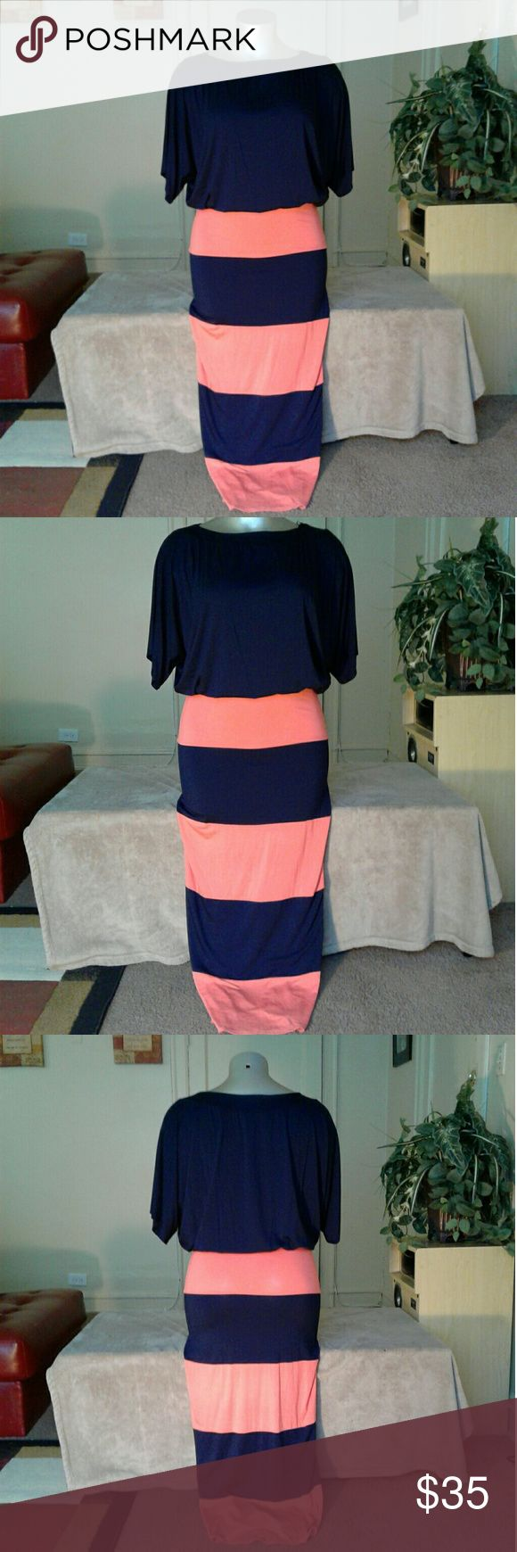 Go Couture Peach Navy Blue Stripped Maxi Dress Dress says XL but fits like a 2X Dresses Maxi