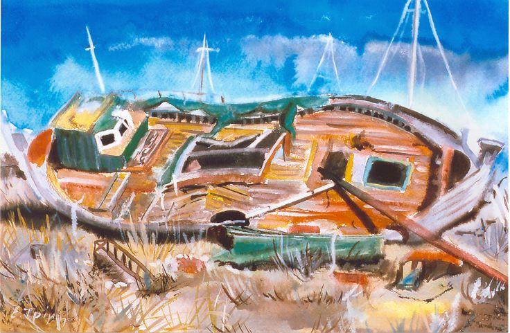 Κουφάρι καϊκιού. Hull of a ship boat. Water color. All rights reserved.