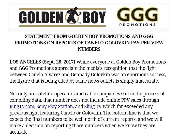 Golden Boy Promotions along with GGG Promotions has released an official statement regarding the reports on the pay-per-view numbers for Canelo-Golovkin. #CaneloGolovkin #CaneloGGG #boxing #goldenboy #goldenboypromotions #boxeo #ggg #gggboxing #frontproof