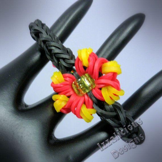 how to make a loom band flower charm