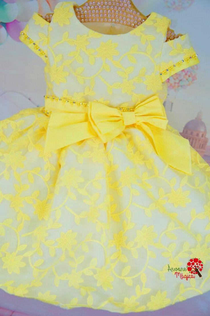 Vestido de Festa Infantil Amarelo Petit Cherie