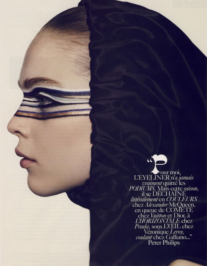"Photographer Mark Segal teamed up with model Kim Noorda to create this crisp editorial called ""Ligne Optique"" for Vogue Paris' Beaute issue August 2007. Check out Mark Segal's portfolio at Streeters New York."