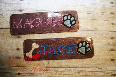 Dog collar slider, bone and paw with name, text is customizable - pinned by pin4etsy.com