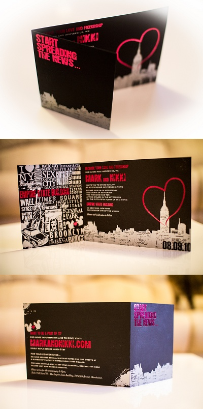 It's two years late but I've finally gotten around to taking some photos of our wedding invitations by the amazing Ceci New York. I'm still in love with them even now... they were done by letterpressing silver ink and hot pink foil onto black card.