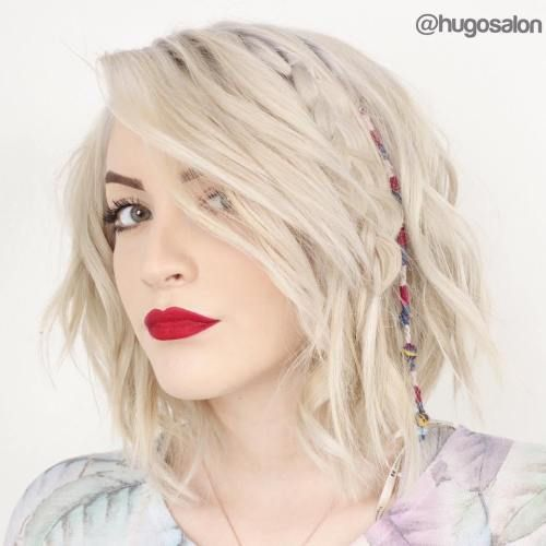 Medium Choppy White Blonde Hairstyle