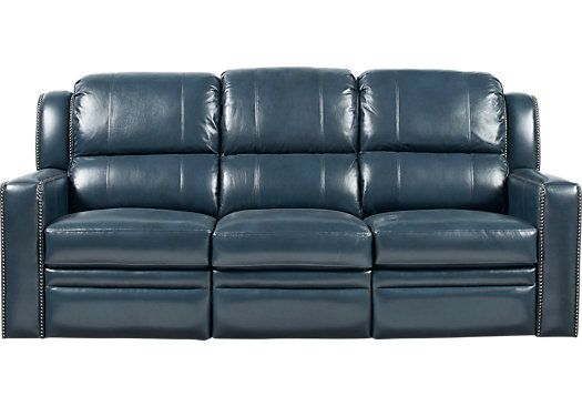11 best home theater images on pinterest living room set for Blue leather reclining sofa
