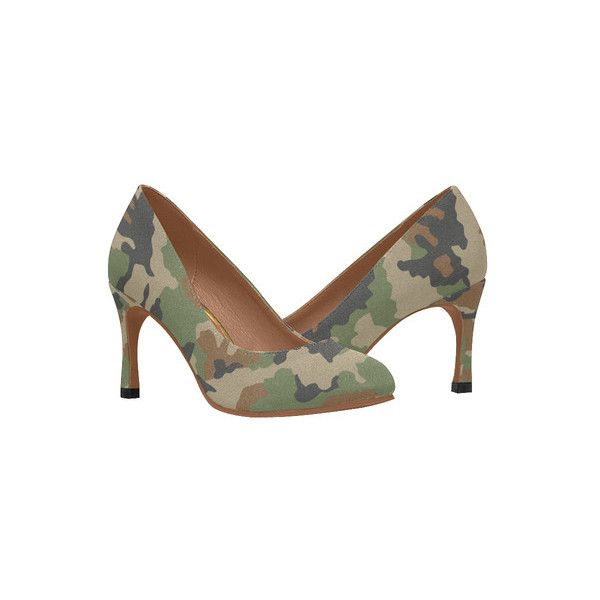 woodland camouflage pattern Women's High Heels (Model 048) ❤ liked on Polyvore featuring shoes, pumps, camouflage footwear, camo print shoes, camouflage shoes, high heel pumps and high heeled footwear