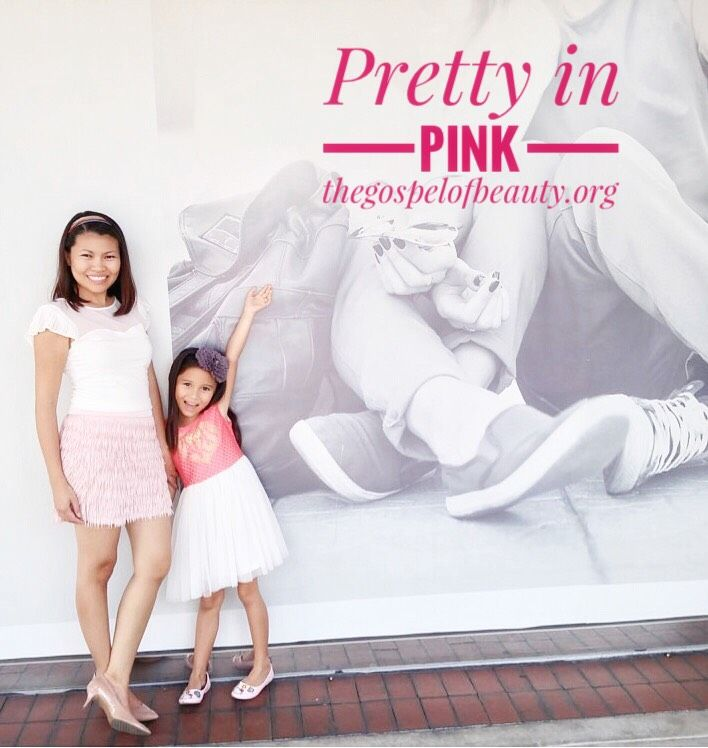Mommy's Style: White heart-shaped top with pleat sleeves and fringe skirt in blushing pink by Express. Nude pumps by Nine West.