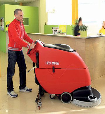 Floor Scrubber In Use In Reception Area