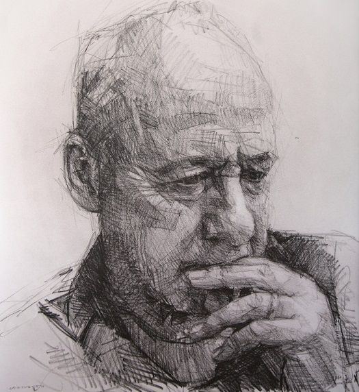 Colin Davidson..............Study of Mark Knopfler  2012 crayon on paper 62 x 57 cm