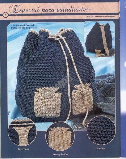 Mochilas, patrones | Entretejida | prendas tejidas en crochet ...