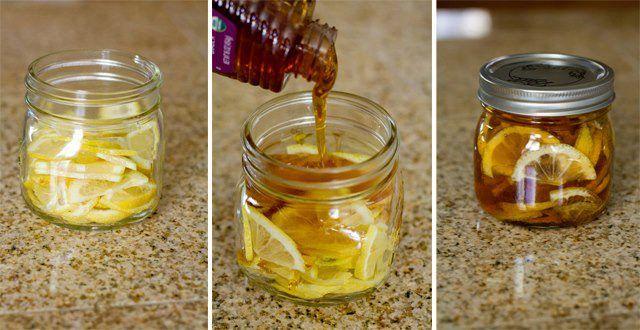 """Té para el dolor de garganta Ingredientes:  Recipiente de vidrio con tapa 1 Limón en rodajas Miel de abeja pura Jengibre en rodajas Agua hirviendo  Instrucciones:  En un recipiente de vidrio, combinar las rodajas de limón, miel de abejas y el jengibre en rodajas. Cerrar el recipiente y colocarlo en la nevera, (se forma en una """"gelatina""""). Para servir: una cucharadita en una taza y vierte agua hirviendo sobre ella. Conservar en nevera 2-3 meses."""