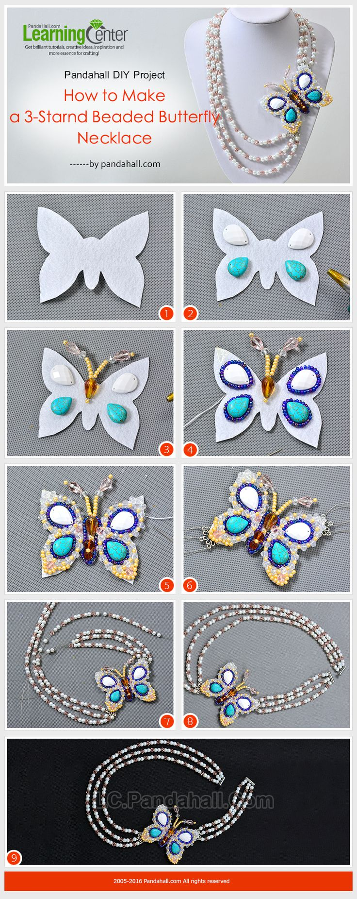 Pandahall DIY Project - How to Make a 3-Strand Beaded Butterfly Necklace from LC.Pandahall.com