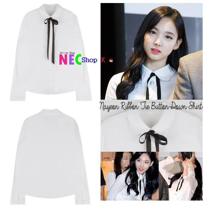 [TWICE STYLE] Nayeon Ribbon Tie button down Shirt | NEC Shop Kpop