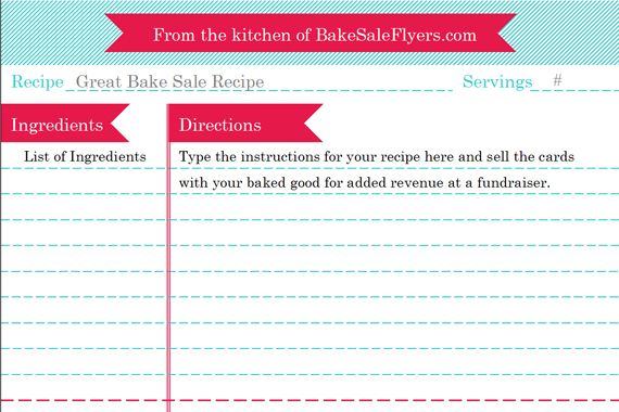 Recipe Card Template Bake Sale Flyers Free Flyer Designs Recipe Cards Template Organize Recipes Cards Recipe Template