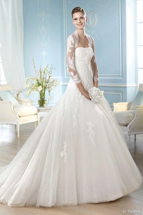 st patrick wedding dresses 2014 halivert gown shrug three quarter illusion sleeves