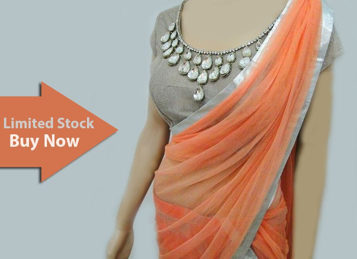 The most demanding pattern of #Saree with #stylish #blouse. Hurry up Buy it now.