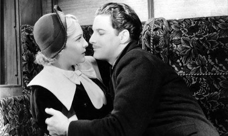 Robert Donat and Madeleine Carroll in Hitchcock's 1935 thriller, The 39 Steps. See this link for some interesting highlights about the film http://www.guardian.co.uk/film/filmblog/2012/jul/26/my-favourite-hitchcock-39-steps#